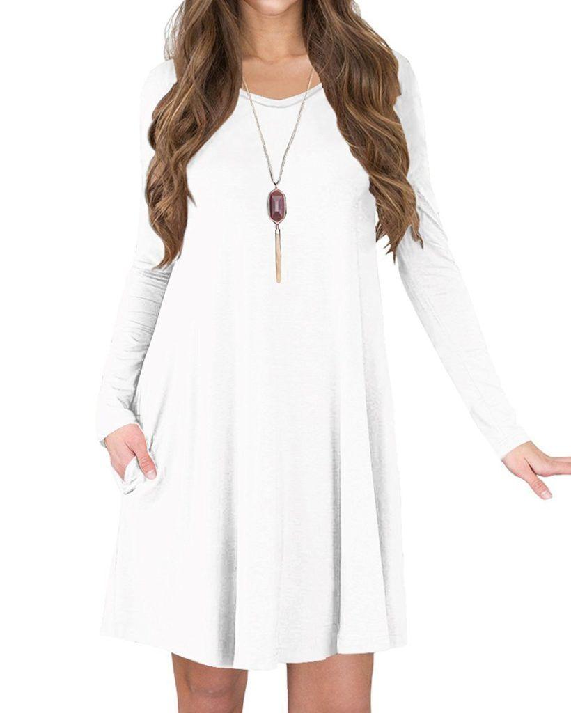 c9717241d1 TINYHI Women s Casual Swing Flowy Plain Simple Cotton T-Shirt Loose Dress