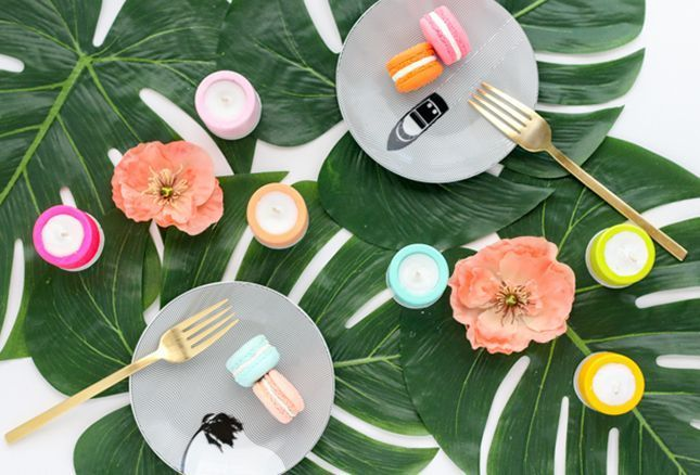 DIY Color Dipped Plaster Candles