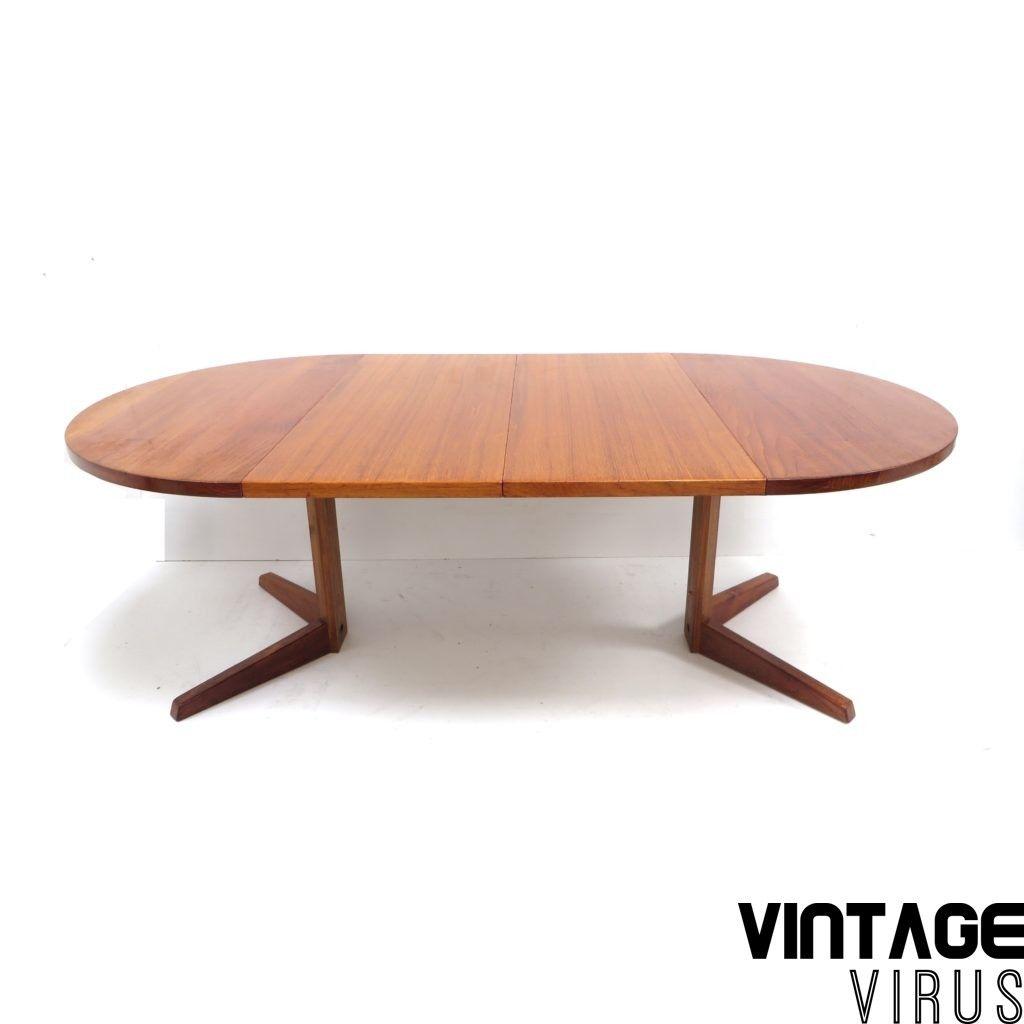 Design Eettafel Uitschuifbaar.Ronde Vintage Uitschuifbare Deens Design Eettafel Gemaakt In
