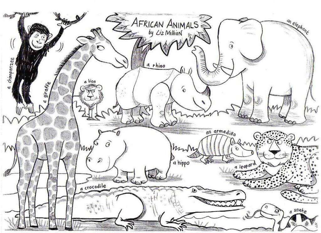 The Beautiful Of Scenery Animals Of Africa Have Captured The Imagination Of Children For Decades T Animal Coloring Pages Animal Coloring Books African Animals