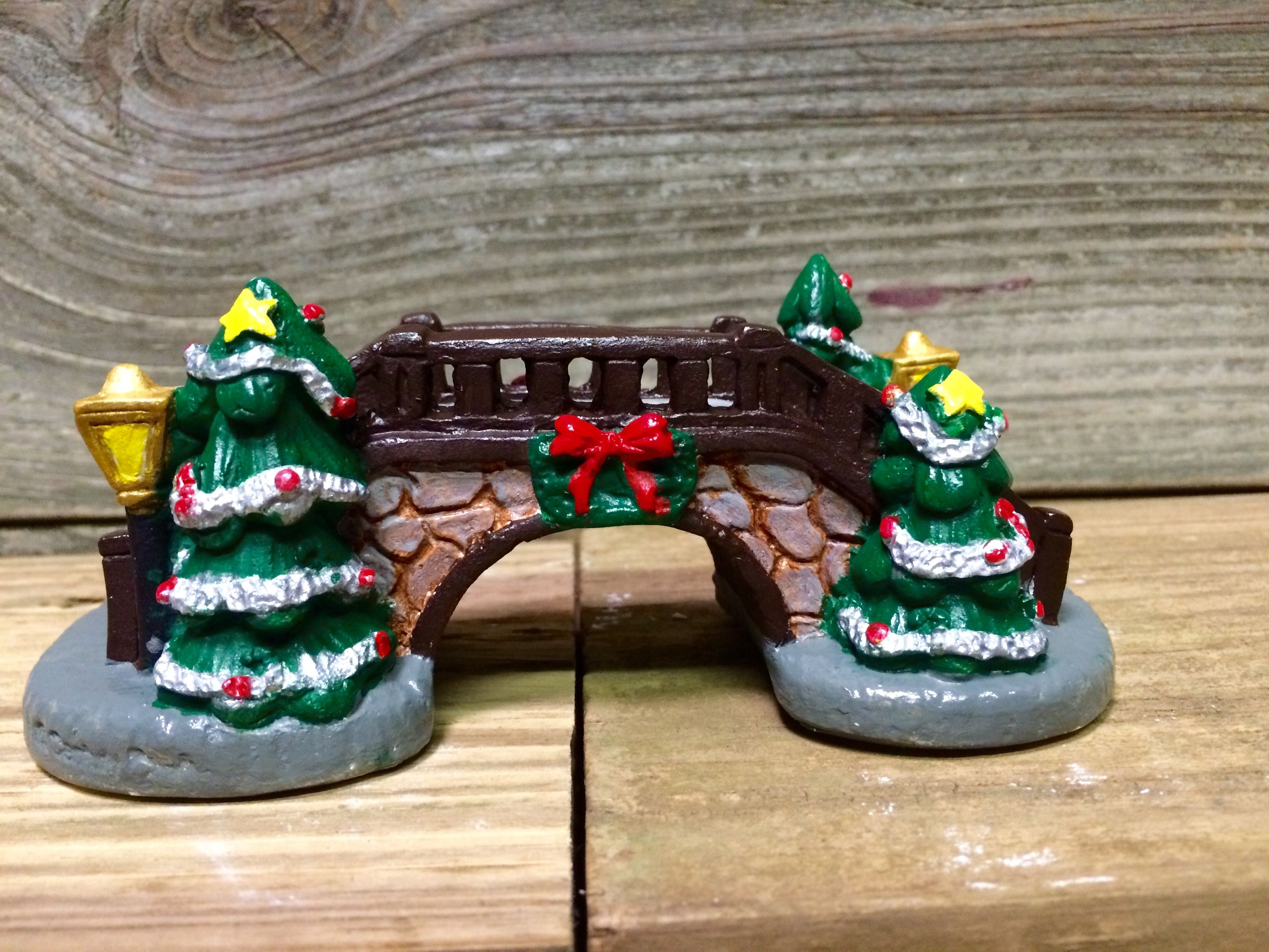 bridge i painted to go over my pond in my christmas village from michaels - Michaels Christmas Village