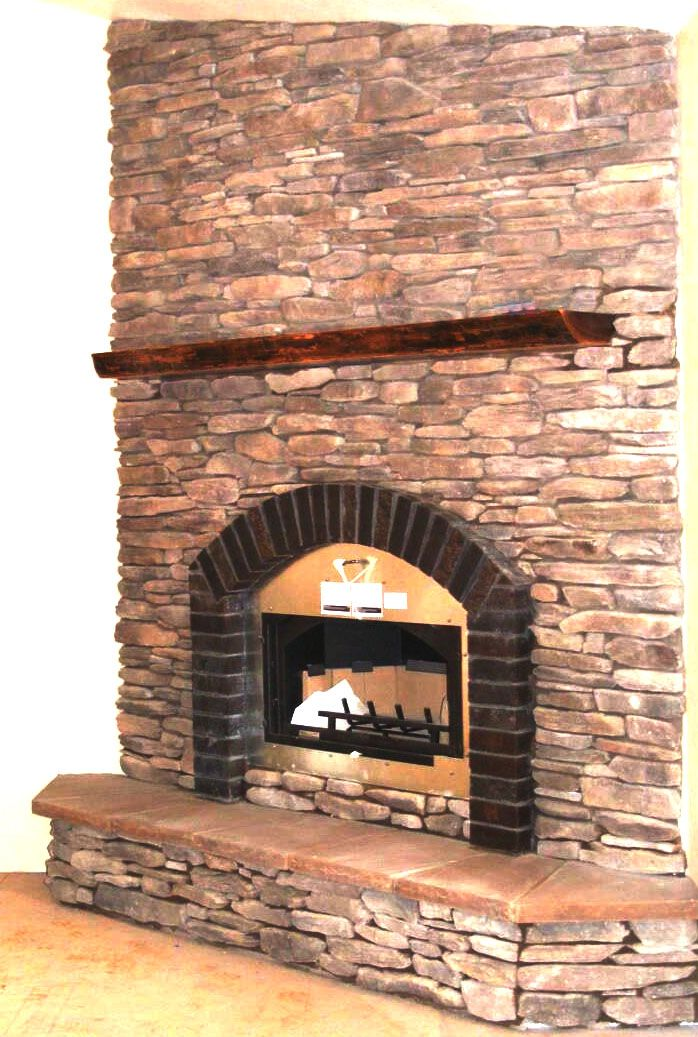 Clinker Brick And Cultured Ledge Stone Fireplace Insert