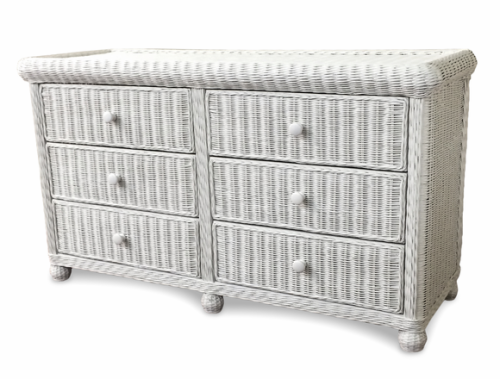 Wicker 6 Drawer Dresser White Wicker Bedroom Furniture