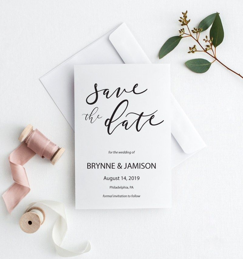 Custom Save the Date Printable Save the Date Wedding Stationery Photo Save the Date Modern Save the Date Card Calligraphy Save the Date