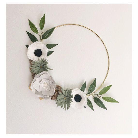 Photo of Wreath    Felt Wreath    Wreaths    Flower Wreath    Spring Wreath    Felt Flower Wreath    Modern Wreath    Wedding Wreath    Wreath Decor