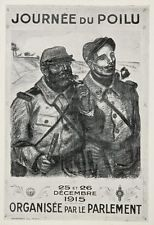 1920 WWI Theophile Steinlen French Soldiers Mini Poster Poilu Wartime WWI