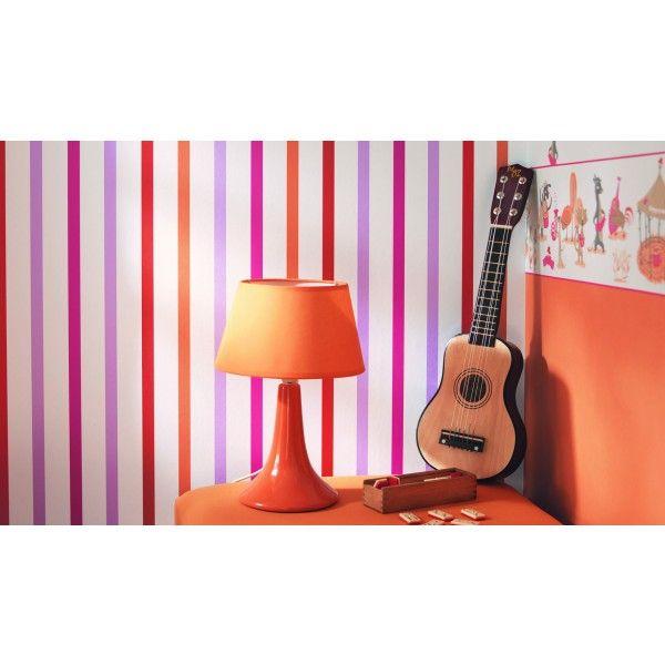 Papier peint rouge à rayures Sweet Dreams, Casélio - chambre d ...