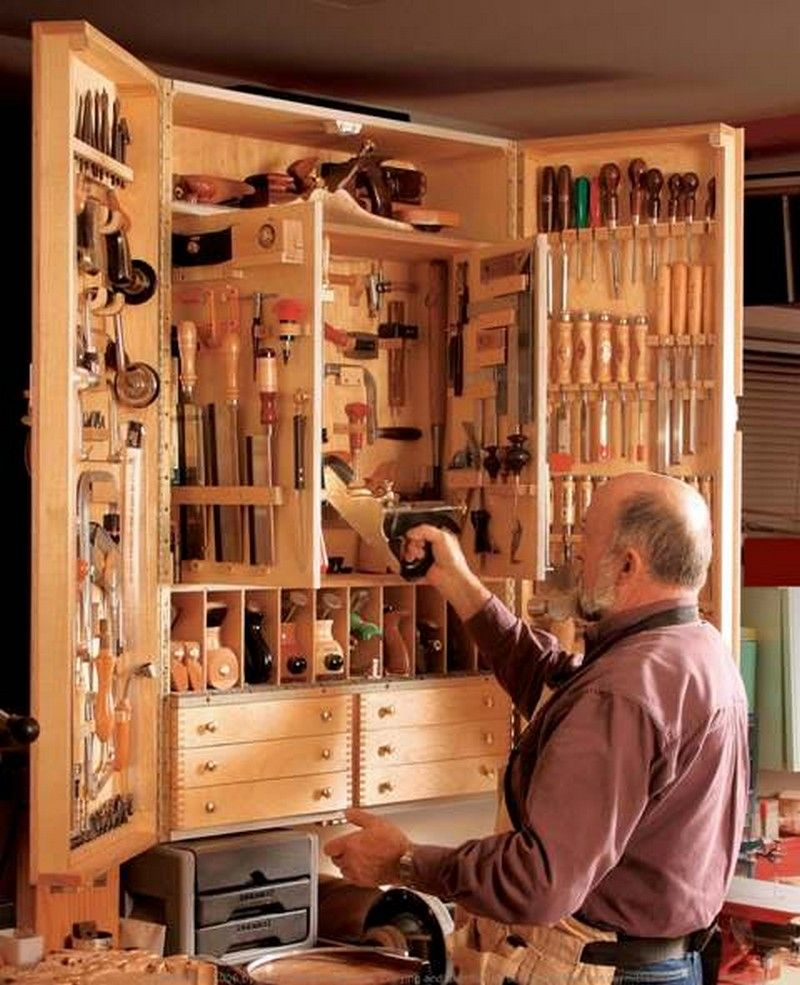 A Very Useful Tool Cabinet, You Can Also DIY One. The Inside Surfaces Of  The Main Doors Hold Thin Tools Like Chisels And Screwdrivers.