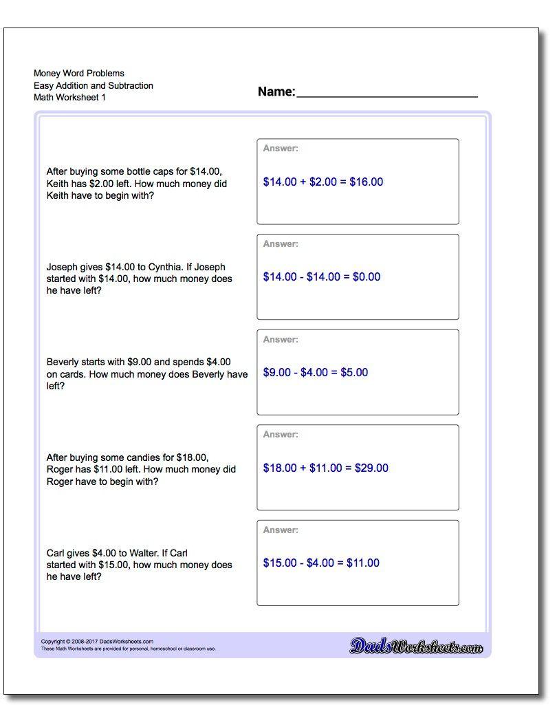 Addition Worksheet And Subtraction Worksheet Money Word Problems Worksheet Addition And Subtractio Money Word Problems Word Problems Subtraction Word Problems Addition and subtraction of money