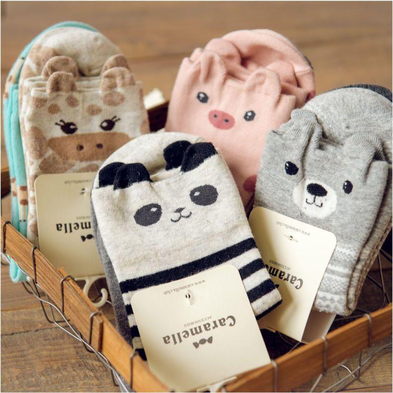 Women Girls Animal Bear Panda Pig Giraffe Cotton Cartoon Sock Long Sock Stocking