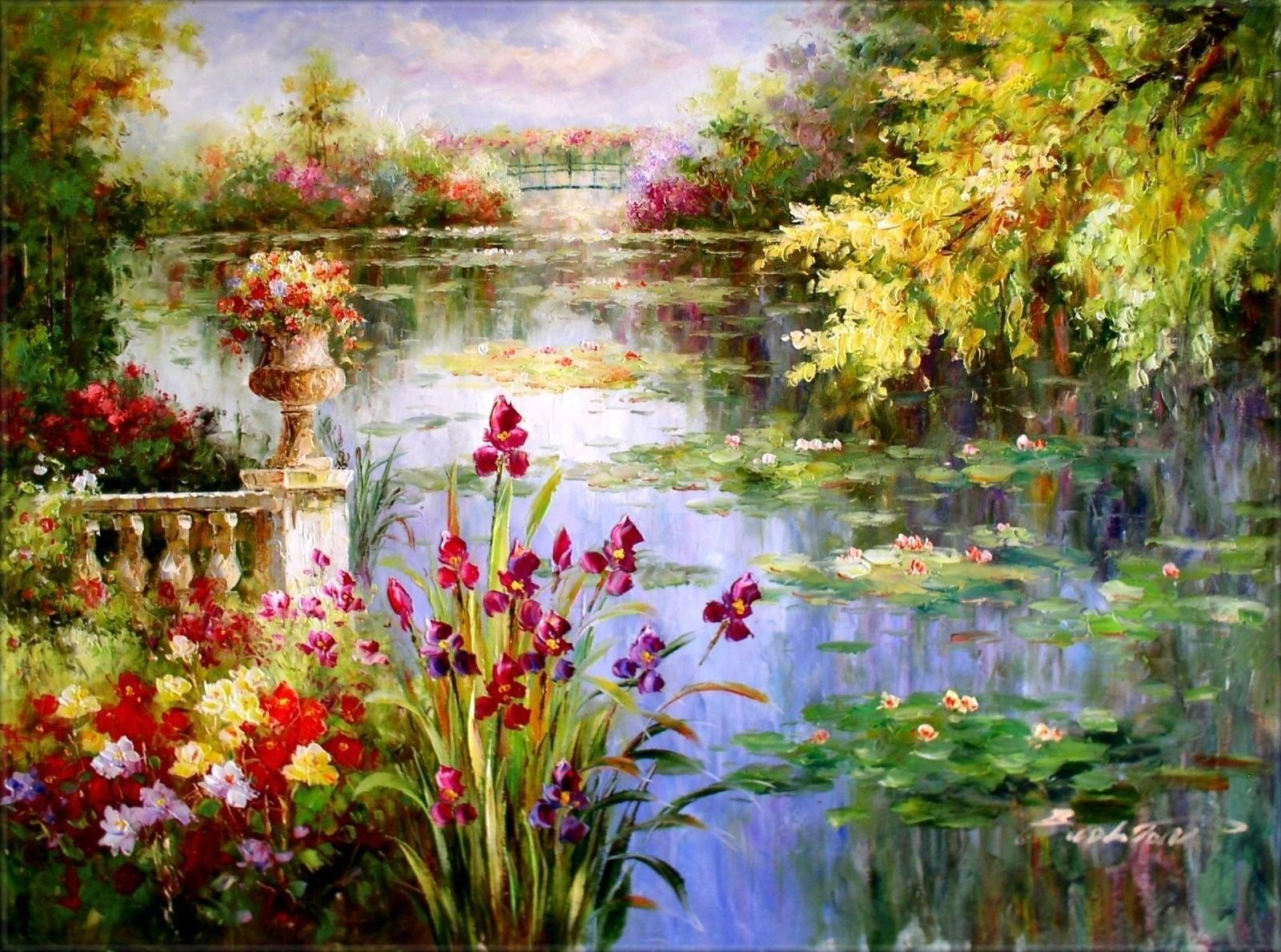 Canvas Oil Painting Lily Pond On Ebay