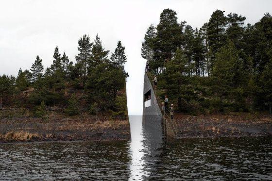 Ruotsalaisen taiteilija Jonas Dahlbergin suunnitelma muistomerkiksi joukkosurman uhrien muistoksi Utøyan saarelle Norjaan.