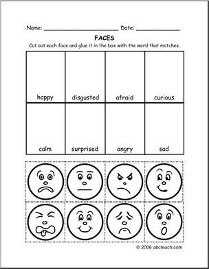Cut and Paste: Facial Expressions and Feelings | abcteach | Social ...