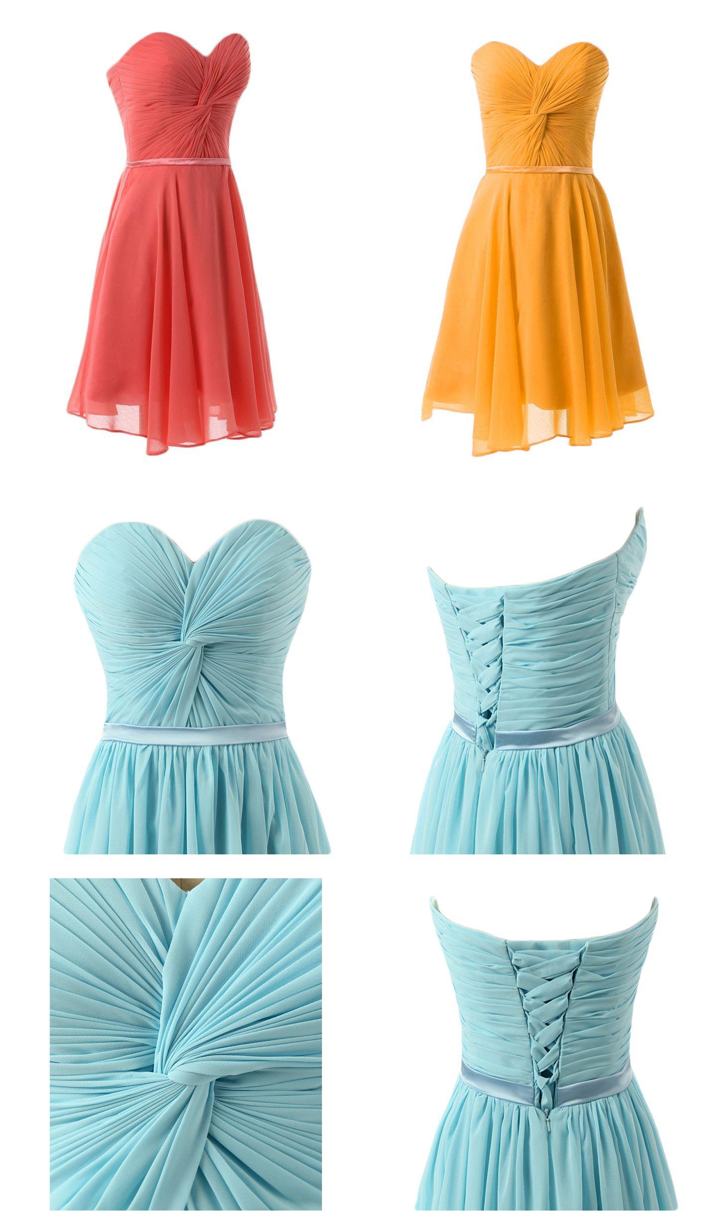 Women\'s Sweetheart Pleated Short Chiffon Bridesmaid Party Dresses ...