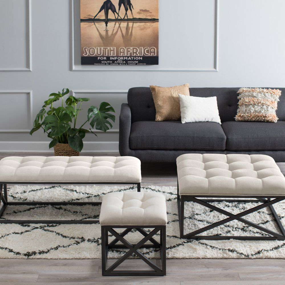 belham living grayson tufted coffee table ottoman with