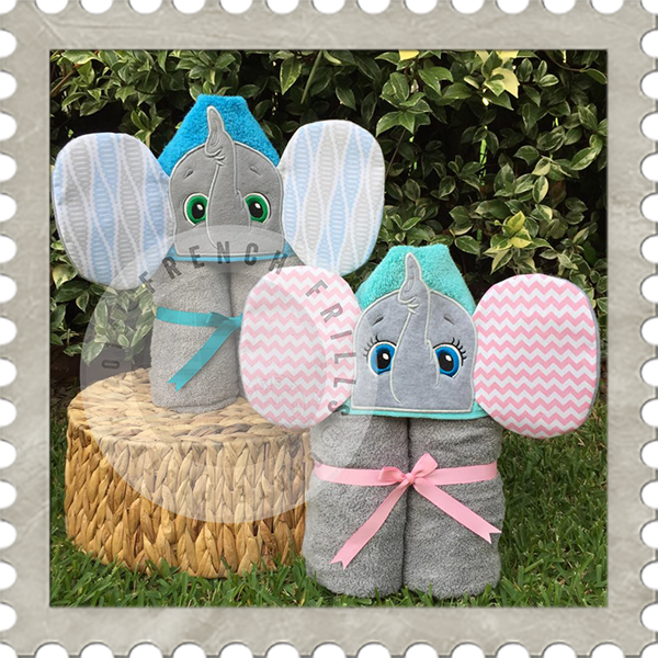 Elephant Girl Boy Hooded Towel Designs Embroidery Applique