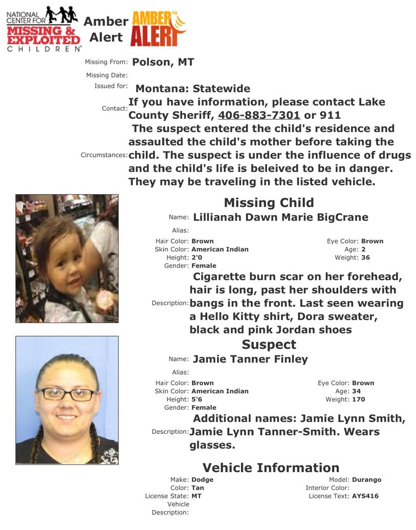 MT AMBER Alert, 5/19/13. Child's life in DANGER Amber