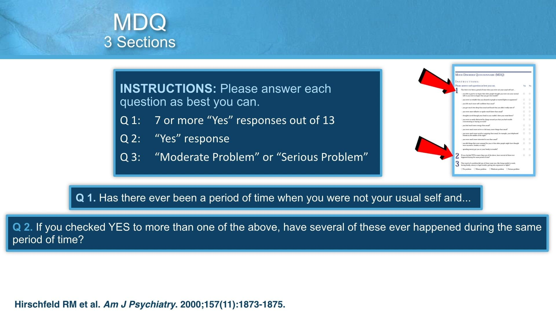 Using the Mood Disorder Questionnaire (MDQ)