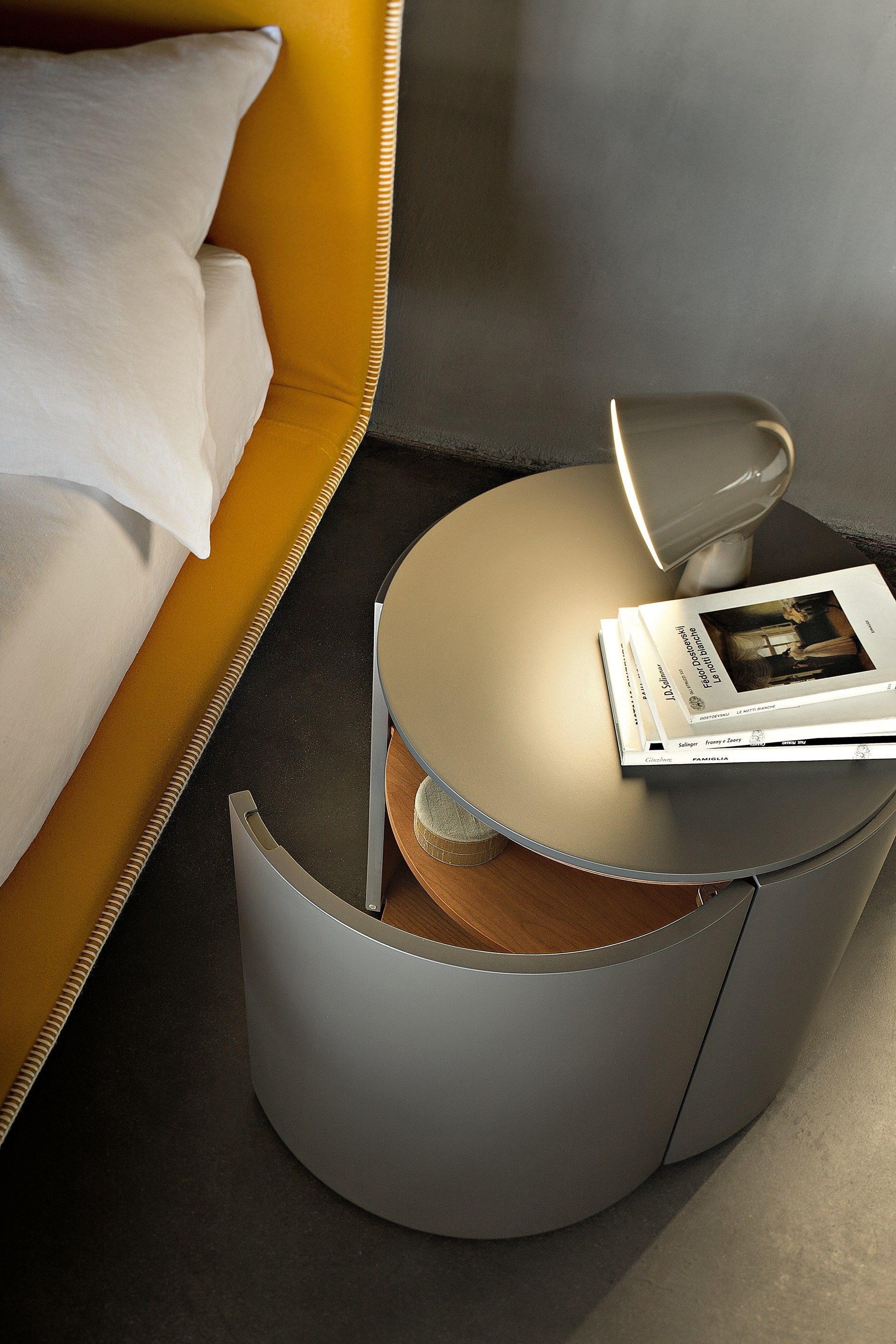 Lacquered Round Bedside Table Top By Lema Design Ludovica Roberto
