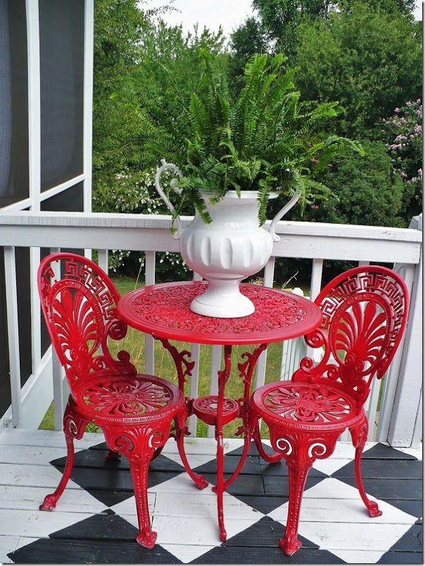 White & Red Cottage style decor, Decor, Bistro table set
