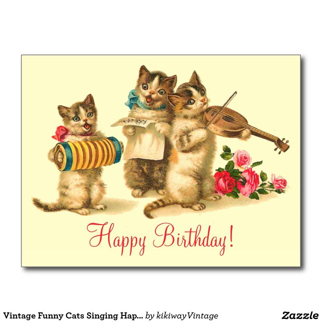 Vintage Funny Cats Singing Happy Birthday Postcard