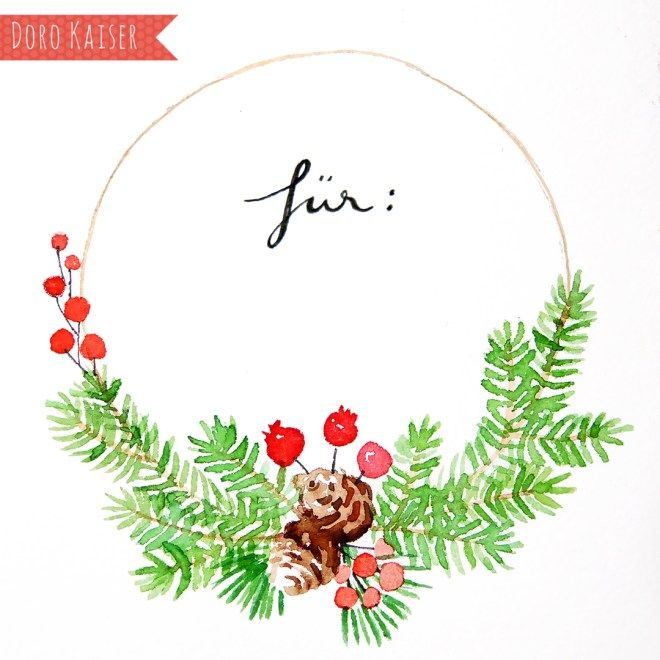 Photo of Painting with watercolor: Christmas wreath – Doro Kaiser | Graphics & illustration