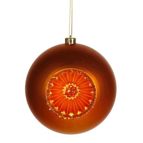 Burnt Orange Retro Reflector Shatterproof Christmas Ball Ornament 8