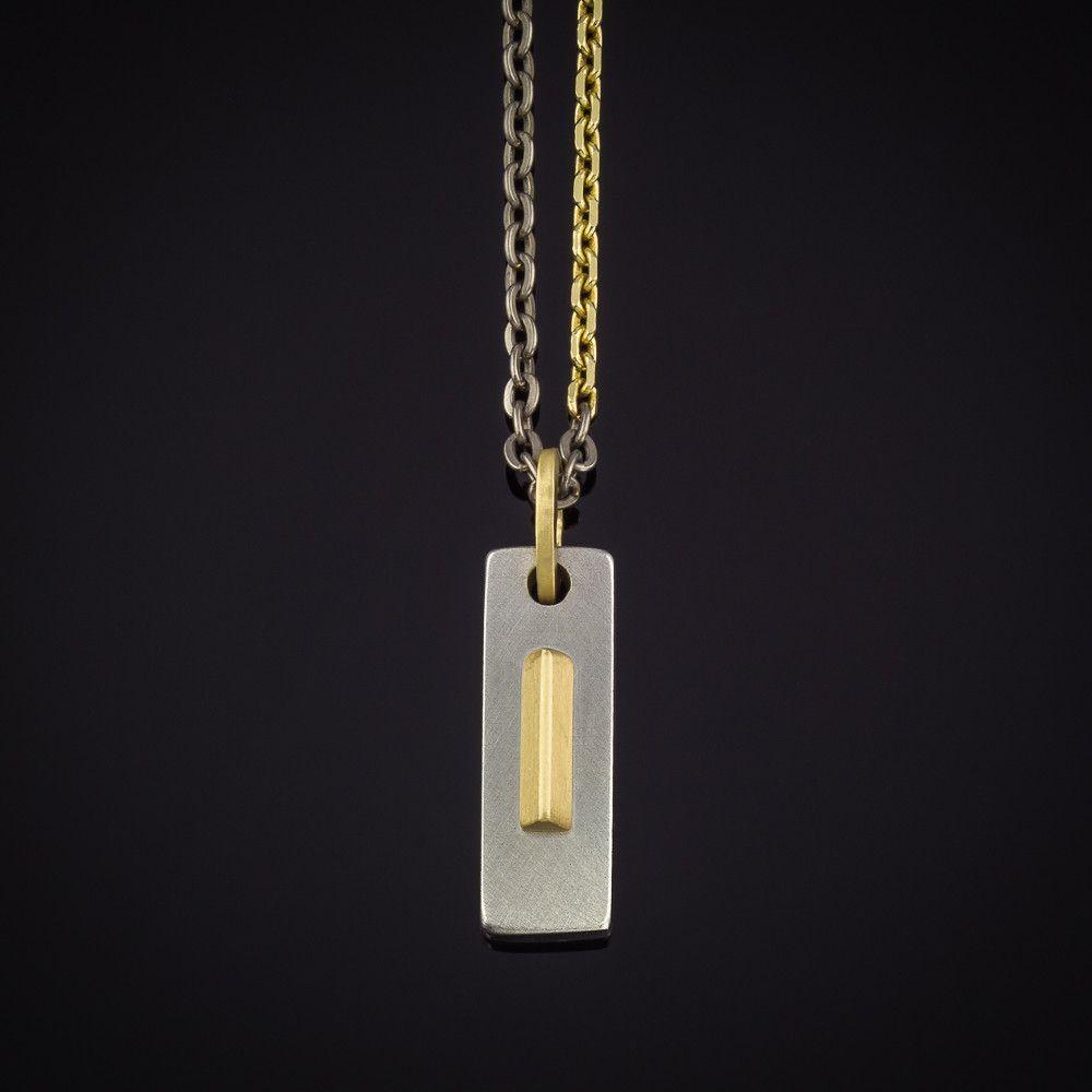 Gold Triangle Titanium Chain Necklace