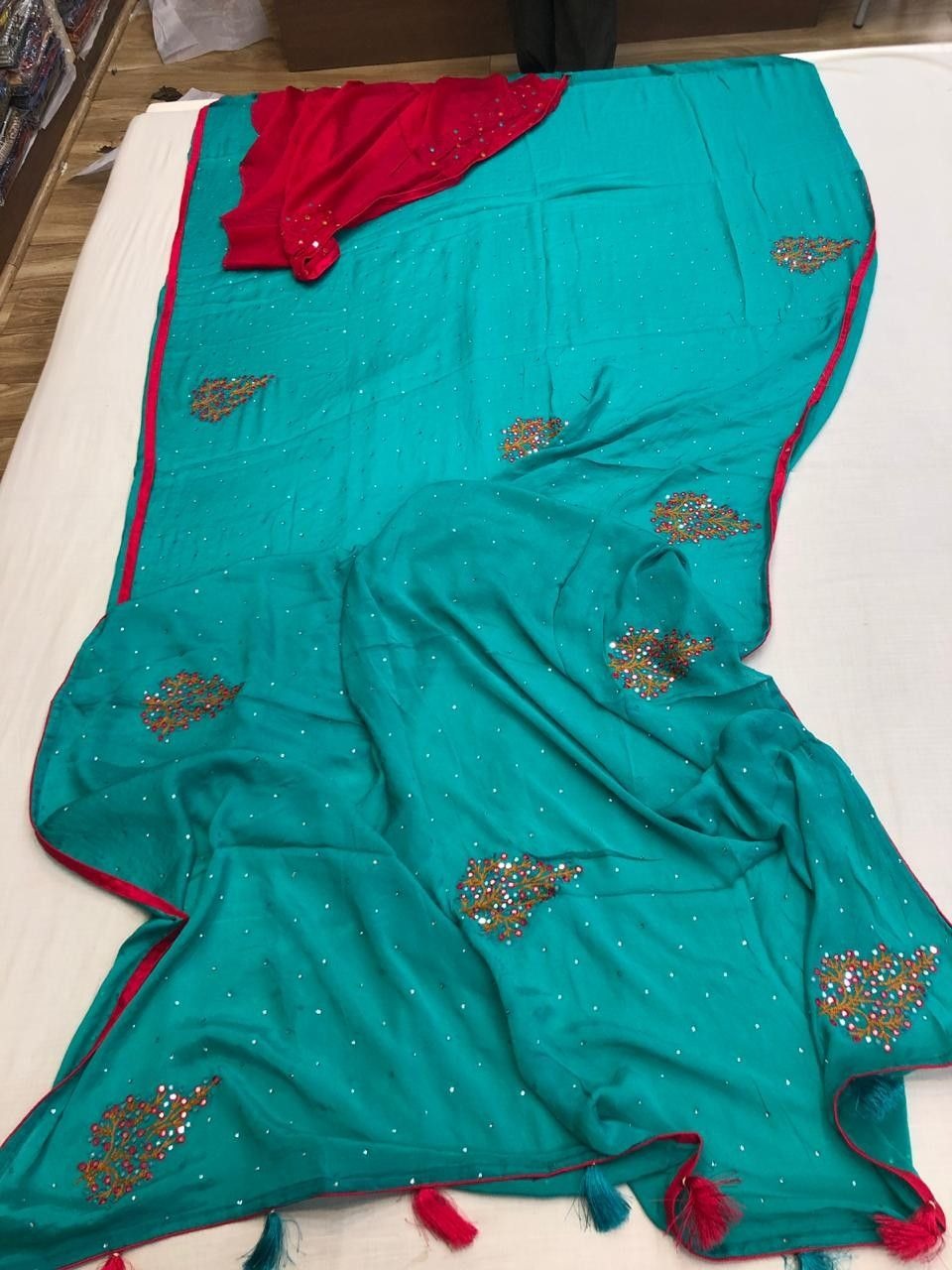 8ddd502de1 CREP MIRROR WORK SAREES WITH CONTRAST BLOUSE 🦚🦚For orders and more  details WhatsApp 6309486442