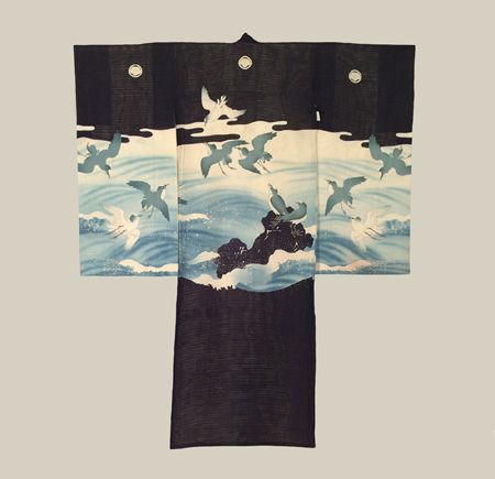 """Boys Ceremonial Kimono, Taisho (1911-1927). A fine 'Ro"""" sheer summer silk """"miyamairi"""" kimono, one utilized to drape over a one-month old baby boy during rite of passage at a Shinto Shrine. This kimono features the rare ocean scene many flying seagulls. The Shinto religion regards the white seagull as being more spiritual and therefore closer to 'kami' than many other parts of Nature. The Kimono Gallery"""