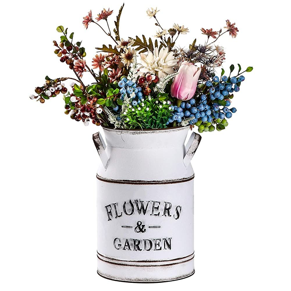 Yoillione Tall Galvanized Vase Farmhouse Pitcher Vase Metal Flower Vase Decorative Country Vintage Old Milk Can R In 2020 Shabby Chic Vases Flower Vases Old Milk Cans