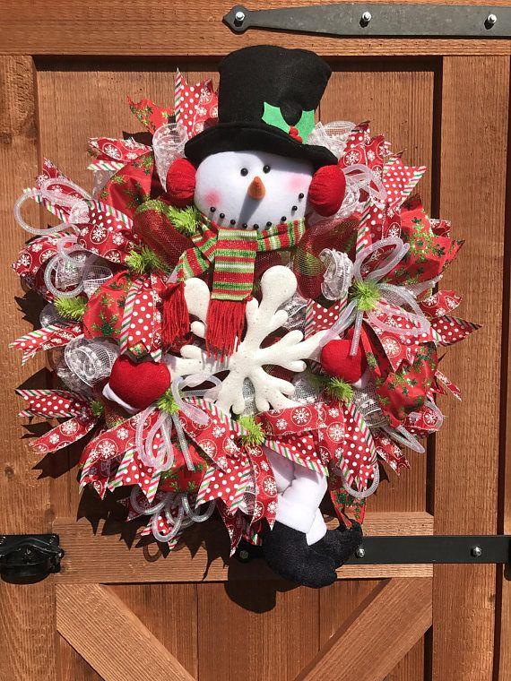 Snowman Wreath For Front Door Valentines Wreath Winter Wreath Winter Decor Snowman Gift Snowman Winter Decorations Winter Porch Decor Christmas Wreaths Holiday Wreaths Christmas Mesh Wreaths