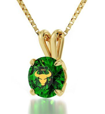 Natural Emerald CZ Astrological Yellow Gold Plated Pendant For Women Chaems Oval Shape Fashion Necklace
