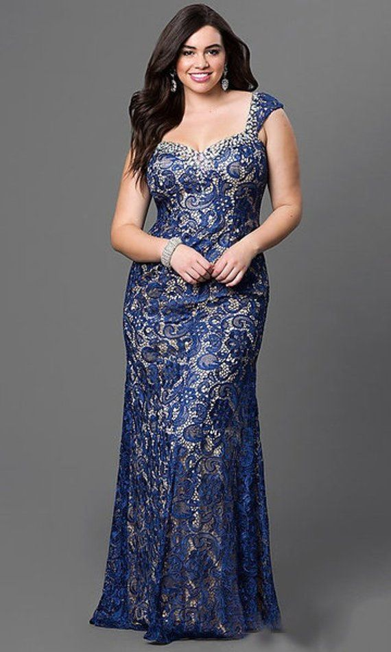 9731a49e Embellished Neckline Plus Size Sleeveless Long Gown Lace Evening Dress Women  Fashion Dark Blue Body