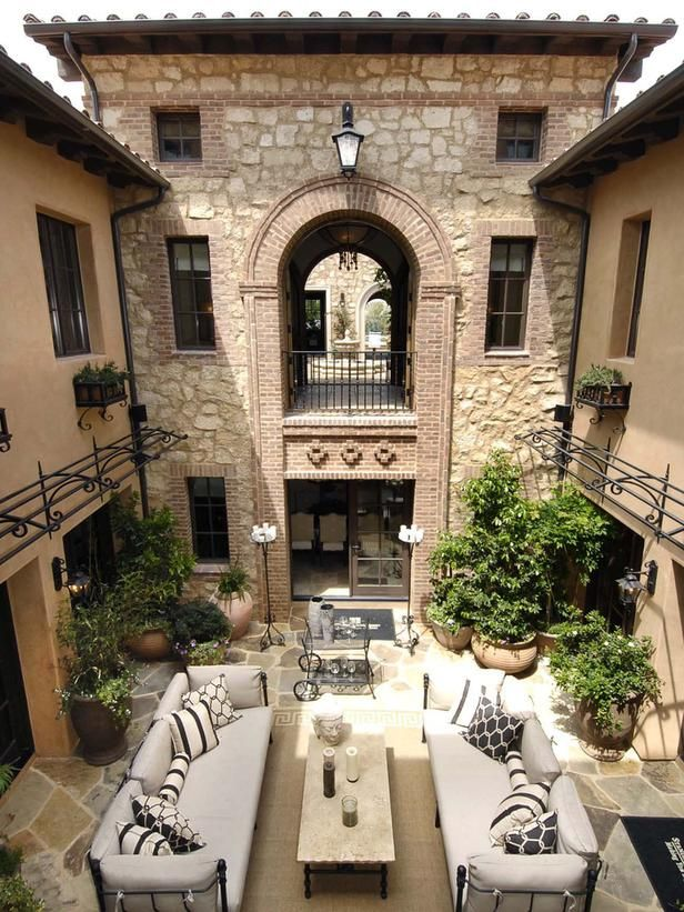 Courtyard centerpiece patio projects for Tuscan style house plans with courtyard