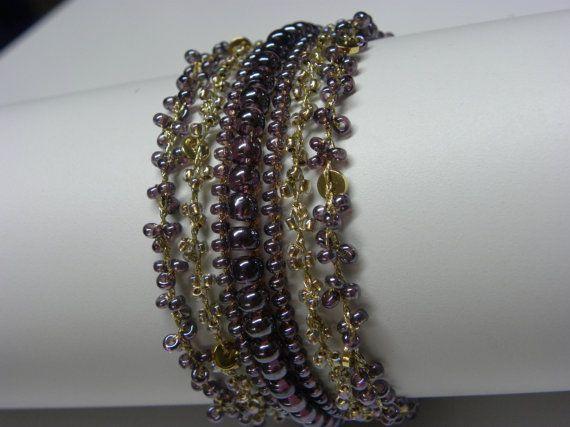 Hand Bracelet Crochet Knitting 7 lines of Glass by MeravBeads