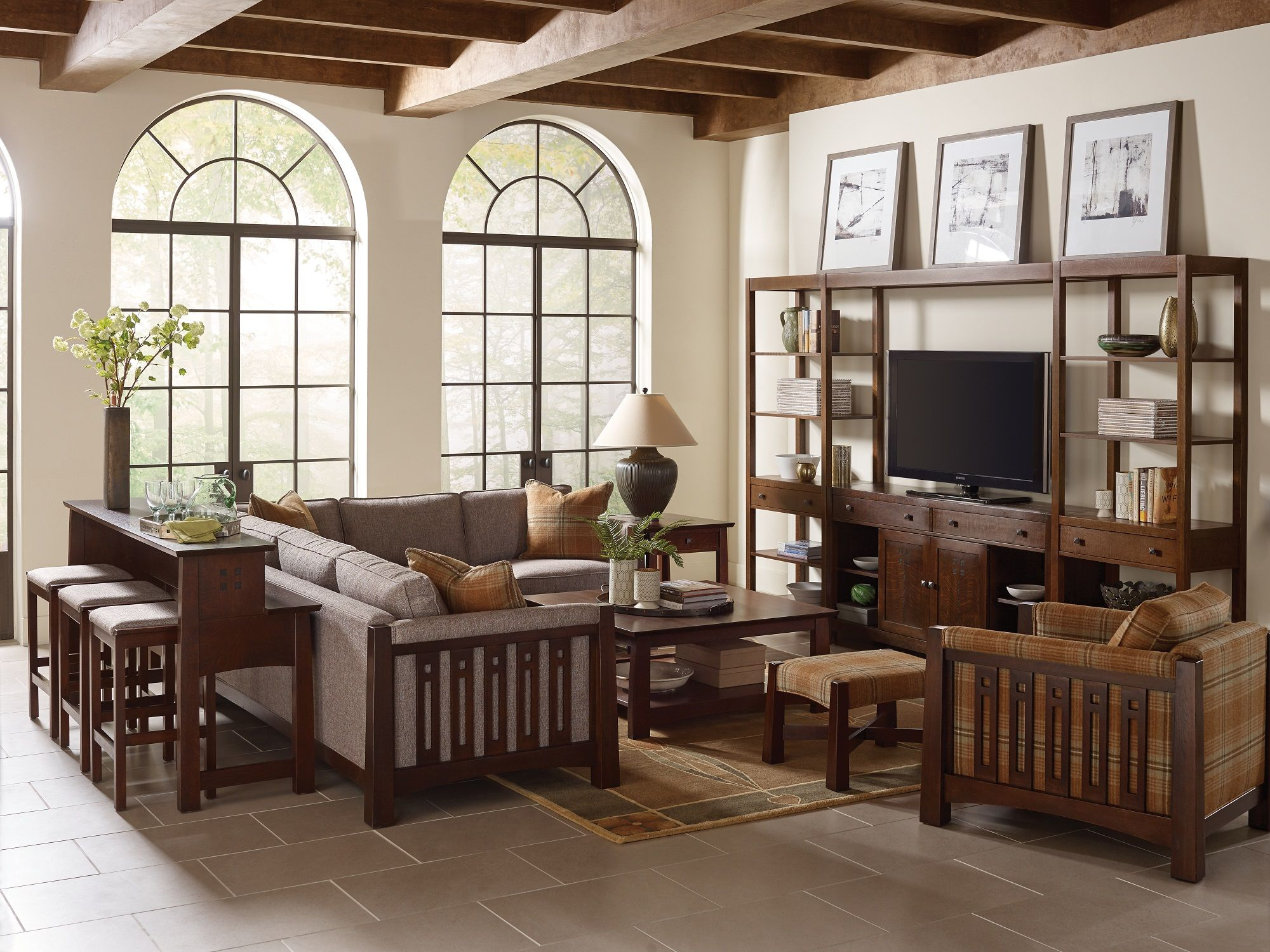 This stickley highlands sectional sofa blends the mission style stickley is famous for with modern upholstery creating a beautiful balance of the classic