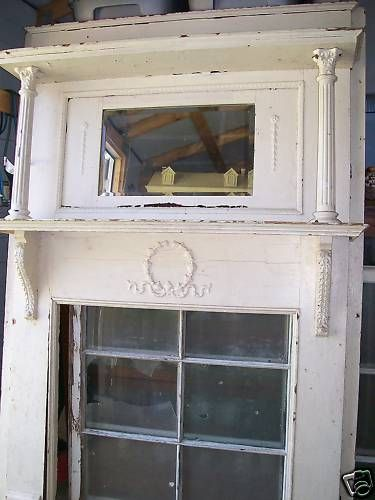 Ornate wood victorian fireplace mantle mantel columns beveled ...