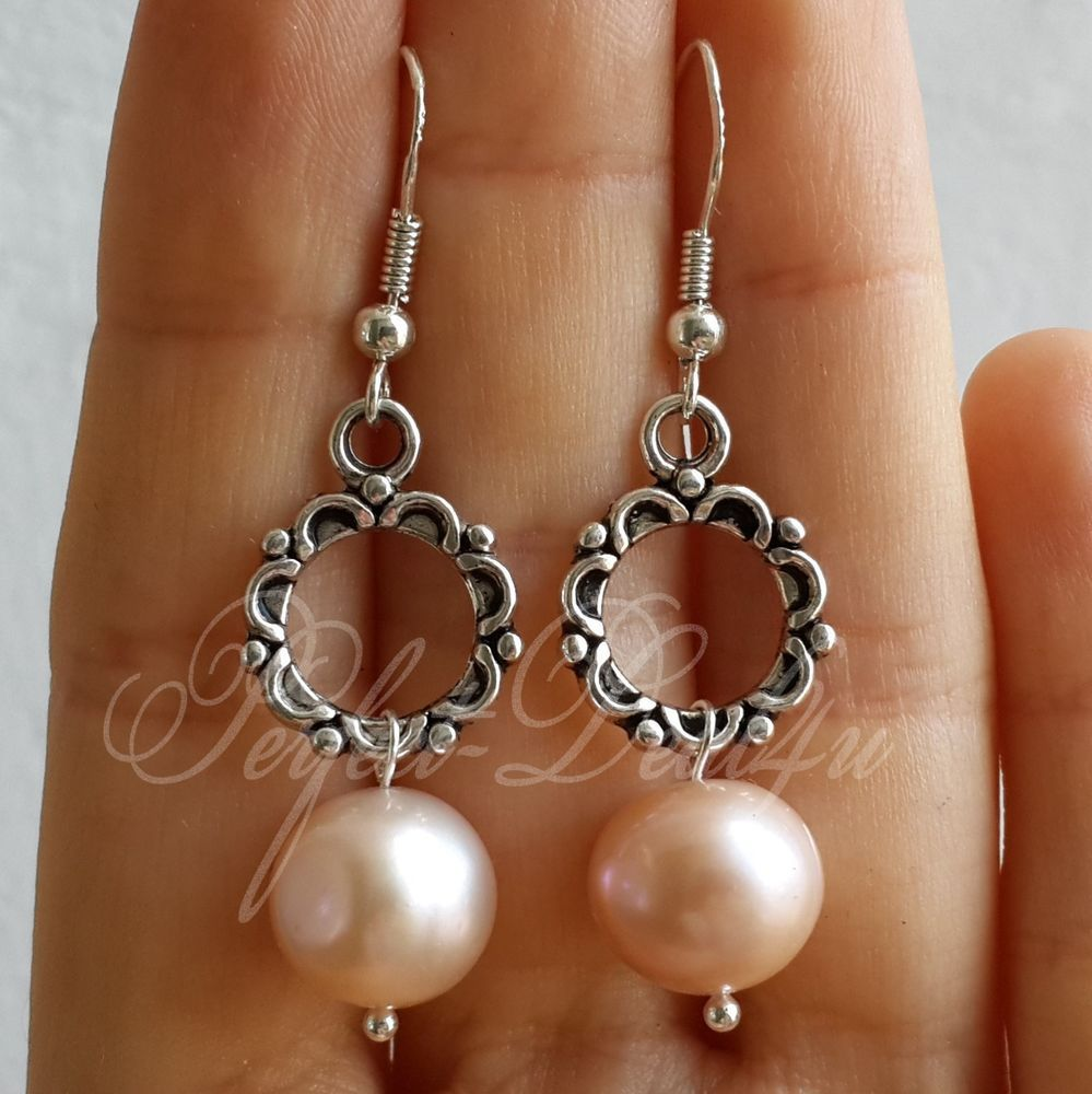 Details about Genuine Light Pink Freshwater Pearls Earrings 925 sterling silver hooks tibetan