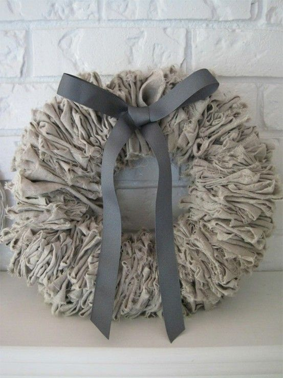 burlap, muslin or linen, take your pick! On a wire circle---different colors?