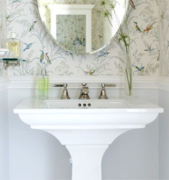 A Bathroom Vanity With Wall Paper Background In White. Designed By Sarah  Richardson, Interior