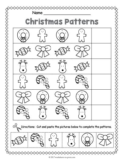 Free Printable Christmas Pattern Worksheet  Christmas Worksheets
