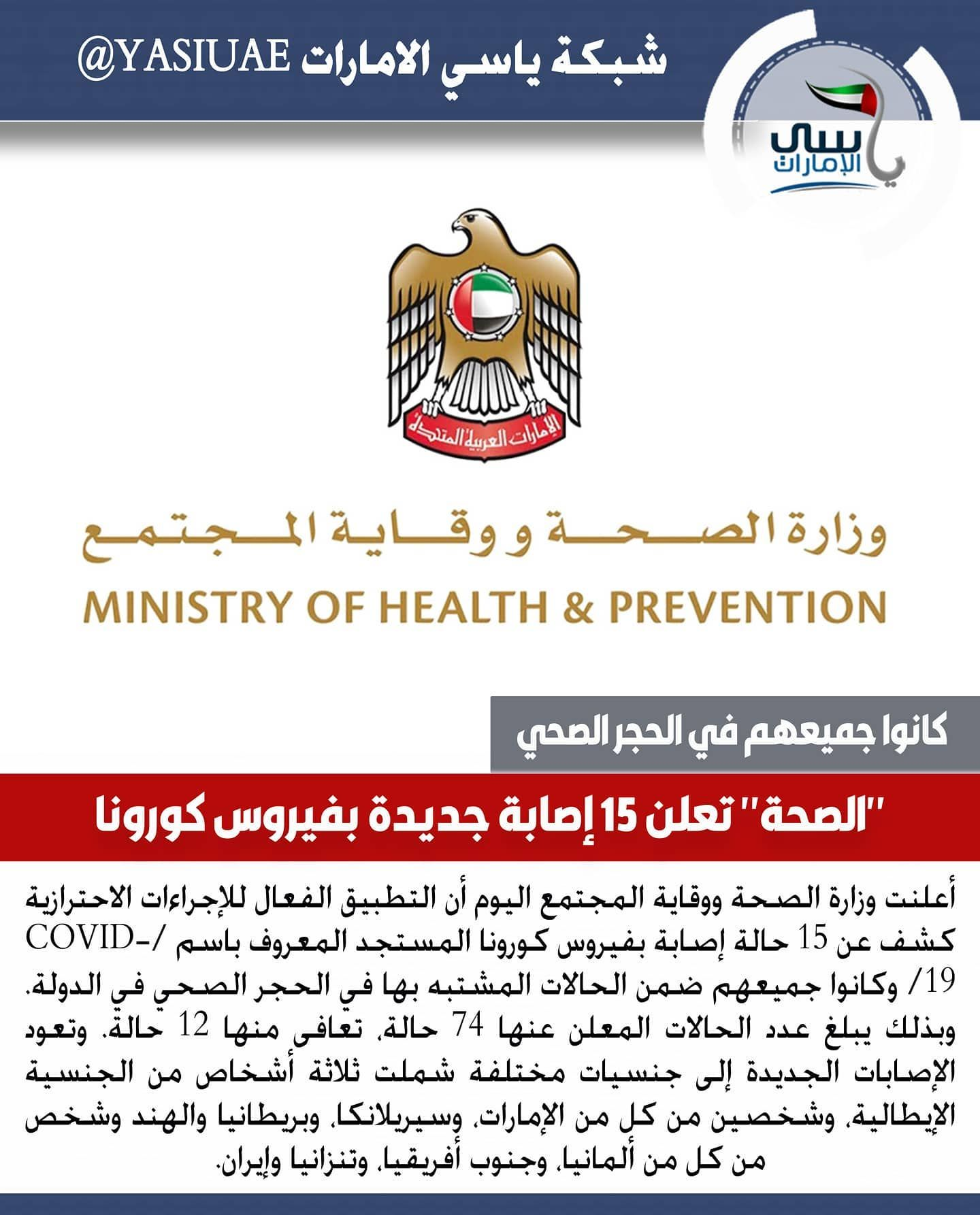 ياسي الامارات الصحة تعلن 15 إصابة جديدة بفيروس كورونا شبكة ياسي الامارات شبكة ياسي الامارات الاخباري ابوظبي دبي In 2020 Prevention Health Pandora Screenshot