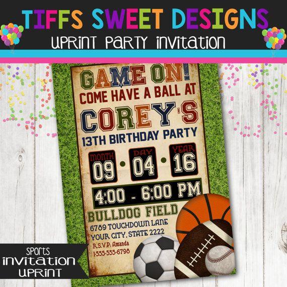 Boys Sports Birthday Party Invitation By TiffsSweetDesigns