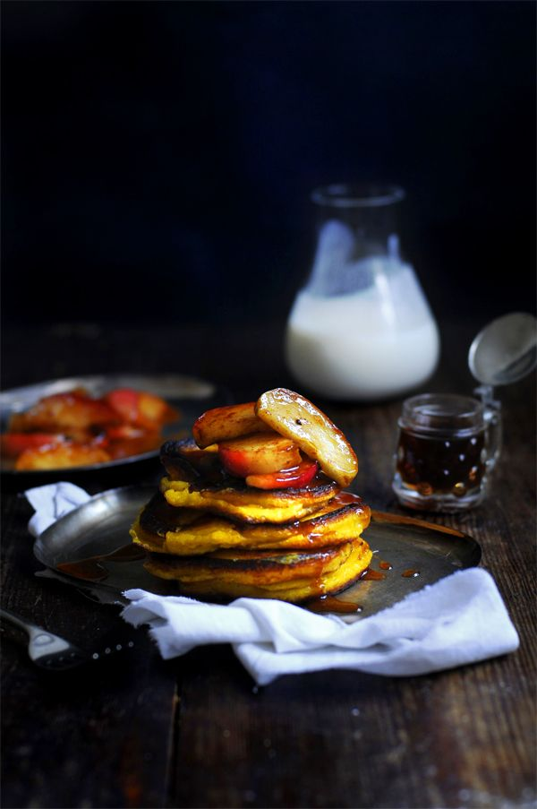Pumpkin pancakes with an apple maple compote