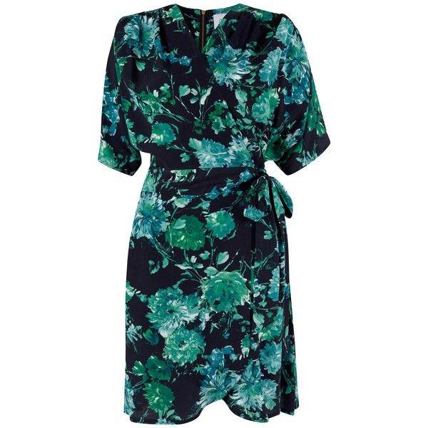 Closet Floral Wrap Dress, Black ($37) ❤ liked on Polyvore featuring dresses, wrap dress, midi dress, long-sleeve floral dresses, floral maxi dress and wrap skirt
