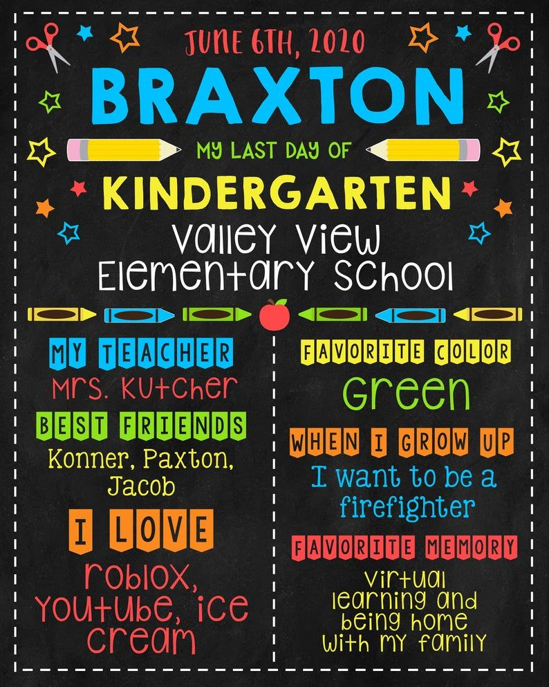 Roblox Template School Editable Last Day Of Kindergarten Sign Template Rainbow Etsy In 2020 Teacher Favorite Things Sign Templates Graduation Templates