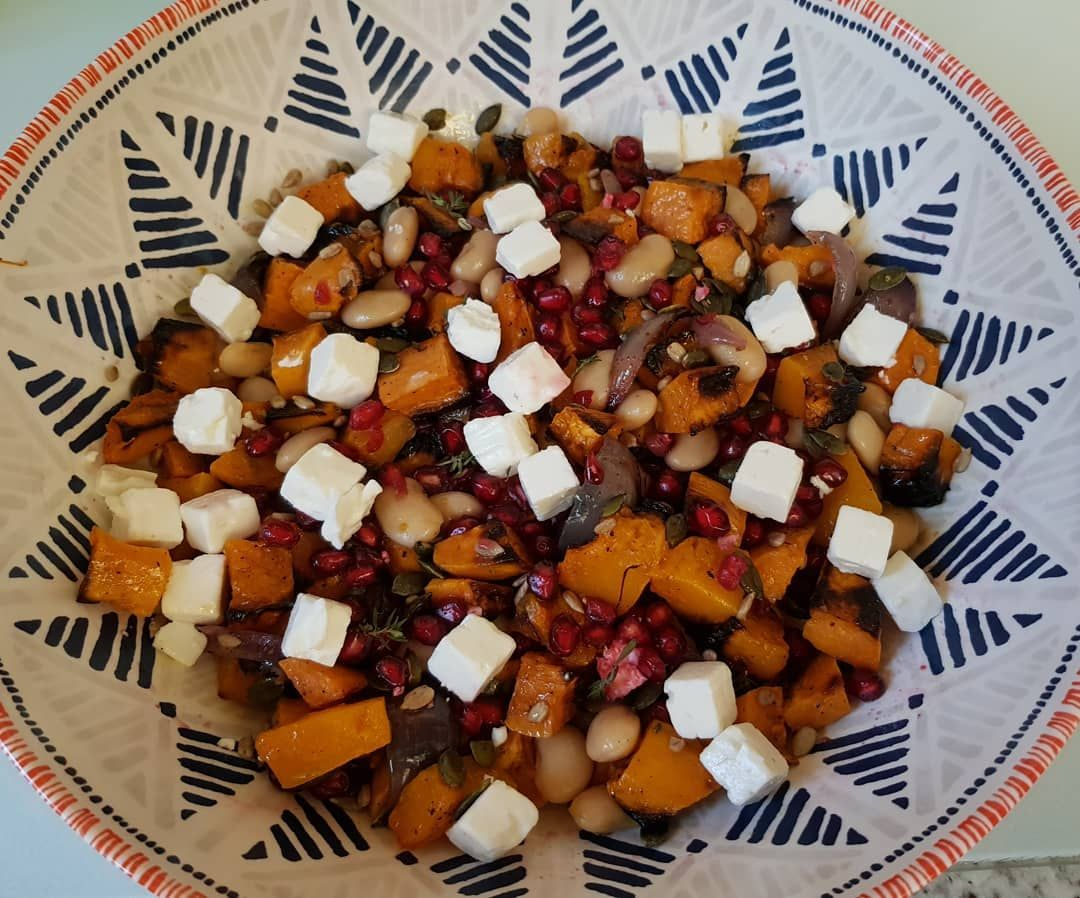 Butternut sweetpotato butterbean and red onion roasted salad with feta pumpkin sunflower seeds and pomegranate  %2