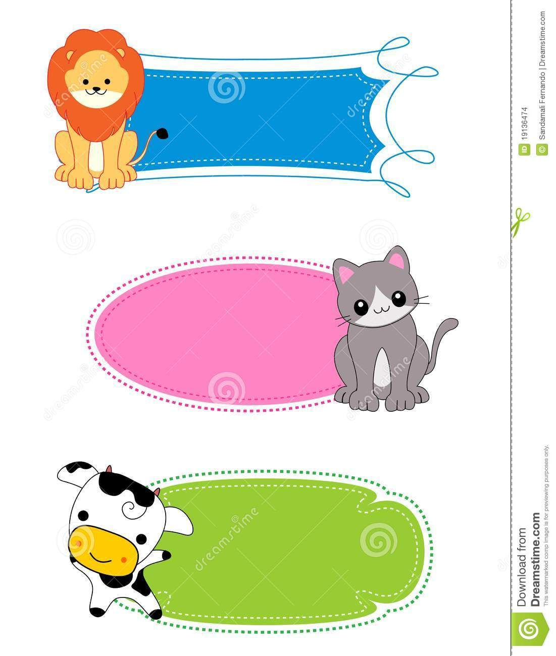 Animal Label Frame Cute Animal Clipart Nametags For Kids Animal Pictures For Kids