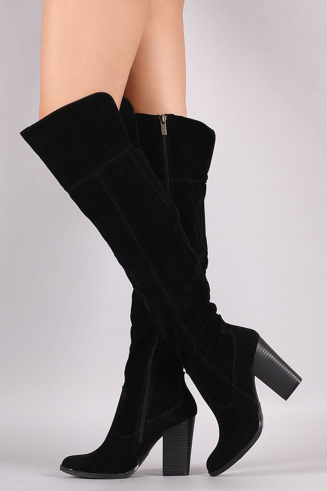 dbbec94e78d Bamboo Almond Toe Chunky Heeled Over-The-Knee Boots in 2019